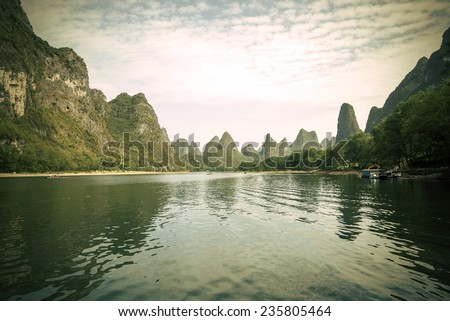 China Guilin Lijiang River rafting, beautiful river. - stock photo