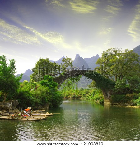 China Guilin Yangshuo Bridge Sunset - stock photo