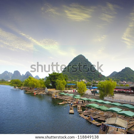 China Guilin Yangshuo Yulong River rafting - stock photo