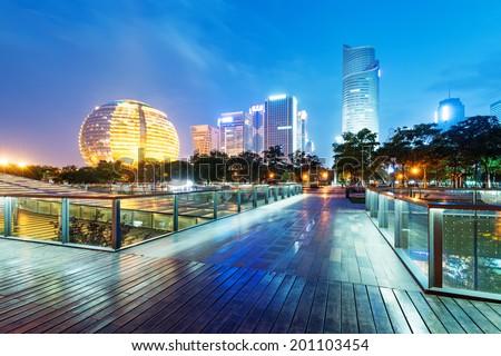 China Hangzhou skyscrapers, night landscape. - stock photo