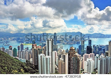 China, Hong Kong cityscape from the Peak - stock photo