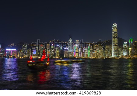China, Hong Kong - February 20, 2014: Skyline viewed from Kowloon at dusk. Skyline of Victoria Harbour at night, Hong Kong