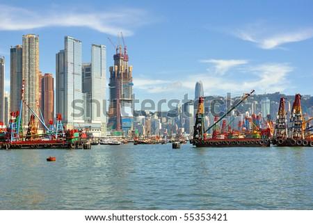 China, Hong Kong harbor - stock photo