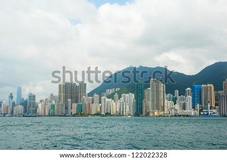 China, Hong Kong island waterfront buildings - stock photo