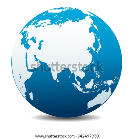 China, India, Malaysia, Philippines, Thailand, Indonesia, Japan Global World - Raster Version - stock photo