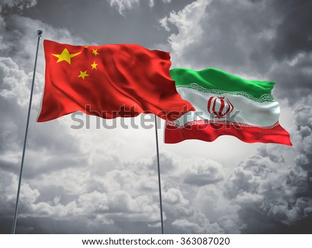 China & Iran Flags are waving in the sky with dark clouds - stock photo