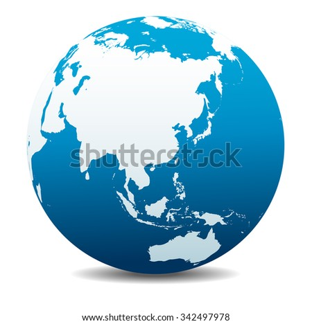 China, Japan, Malaysia, Thailand, Indonesia, Global World - Raster Version - stock photo