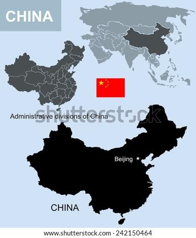 China map - stock photo