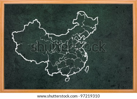 China map and flag draw on grunge blackboard - stock photo