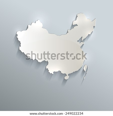 China map blue white card paper 3D raster - stock photo