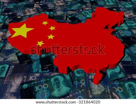 China Map flag on Yuan illustration - stock photo