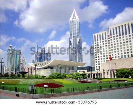 China, modern Shanghai, people square. - stock photo