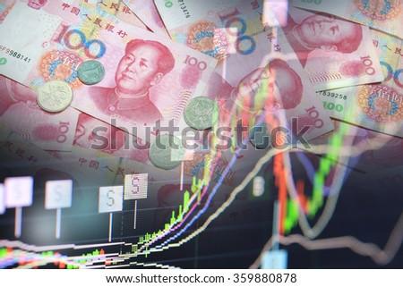 China money and stock chart - stock photo