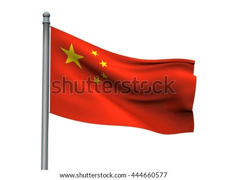 China nation flag on white background 3d rendering