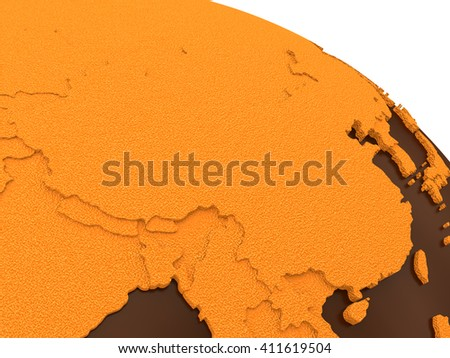 China on chocolate model of planet Earth. Sweet crusty continents with embossed countries and oceans made of dark chocolate. 3D rendering. - stock photo
