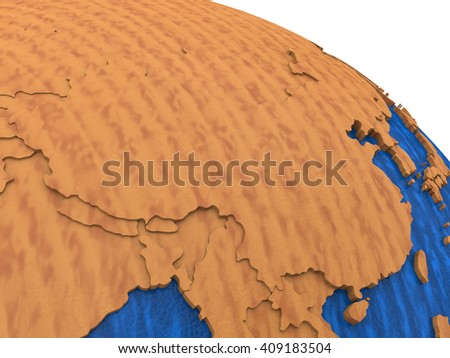 China on wooden model of planet Earth with embossed continents and visible country borders. 3D rendering. - stock photo
