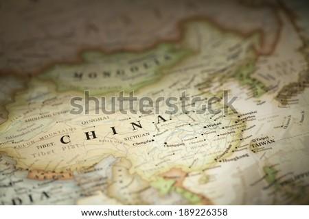 China on world map - stock photo