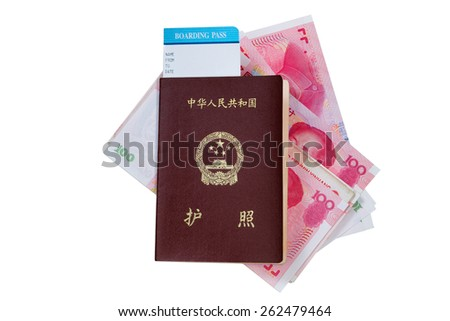 China passport and boarding pass with paper currency underneath isolated on white background.  - stock photo