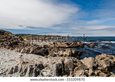China Rock, 17 Mile Drive, Big Sur, California, USA - July 1, 2012: The 17 Mile Drive is a scenic road through Pacific Grove and Pebble Beach in Big Sur, Monterey, California, USA. - stock photo
