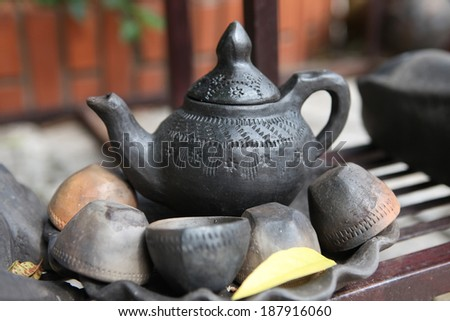 China's ancient teapot and teacups - stock photo
