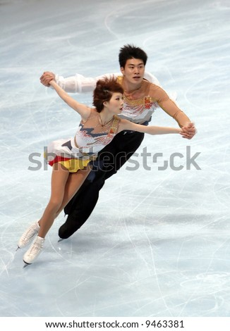 China's Dan and Hao Zhang perform during the pairs short program event during the Eric Bompard trophy. This is pair's short program for season 2007/2008