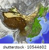 China. Shaded relief map, with rivers and major urban areas. Surrounding territory greyed out. Colored according to terrain height. Projection Lambert Conic Conformal. - stock photo