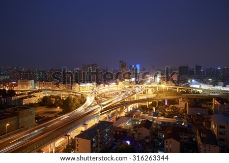 China Shanghai Elevated Road Traffic - stock photo