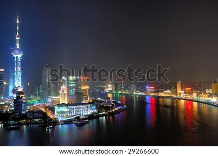 China Shanghai  Huangpu river and Pudong pearl tower aerial view. - stock photo
