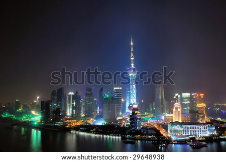 China Shanghai  Huangpu river and Pudong pearl tower aerial view. - stock photo