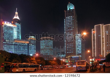 China Shanghai People square night view