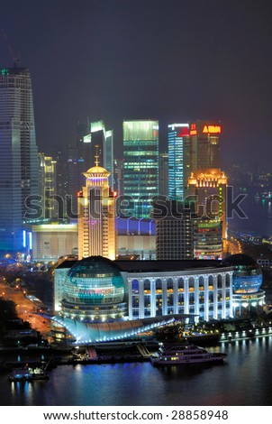 China Shanghai  Pudong buildings aerial night view - stock photo
