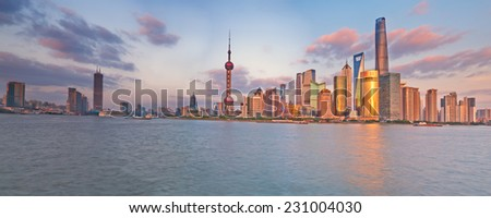 China Shanghai Pudong district Skyline during sunset