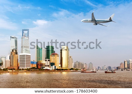 China Shanghai Pudong New Area, the Lujiazui financial district. - stock photo
