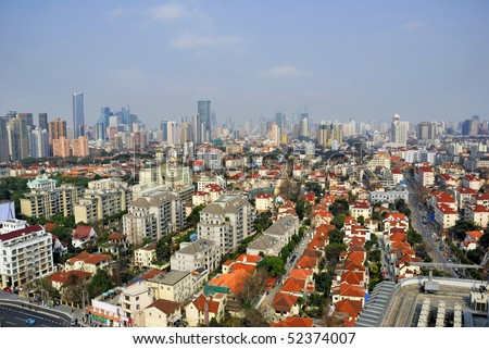 China Shanghai  Puxi skyline - stock photo