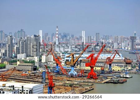 China Shanghai the Huangpu river and the city skyline. - stock photo