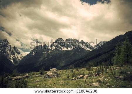 """China Sichuan """"Four Girls Mountain"""" Snow Mountain - stock photo"""