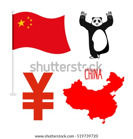 China symbol icons set. Map and flag of country. Sign of national currency yen. Panda Bear Chinese national animal