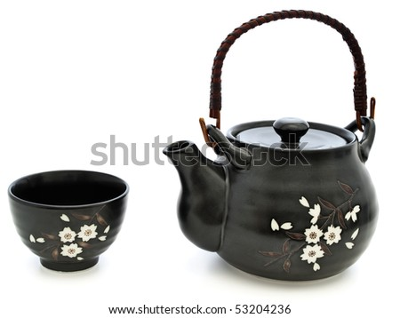 china tableware for chinese tea ceremony: teapot and bowl over white background
