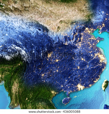 China, Taiwan. Elements of this image furnished by NASA. 3D rendering - stock photo