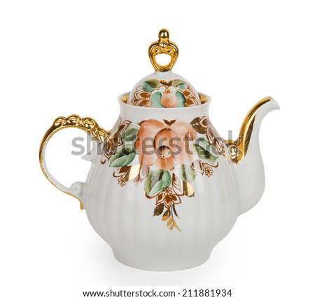 China teapot isolated on white background - stock photo