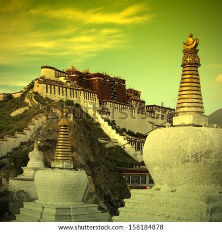 china tibet Potala Palace - stock photo