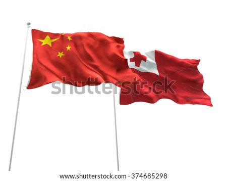 China & Tonga Flags are waving on the isolated white background