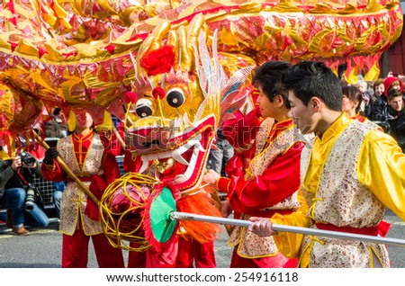 CHINA TOWN IN LONDON - FEBRUARY 22:Main parade celebration of Chinese New Year - the year of the sheep. London 22 february 2015 - stock photo