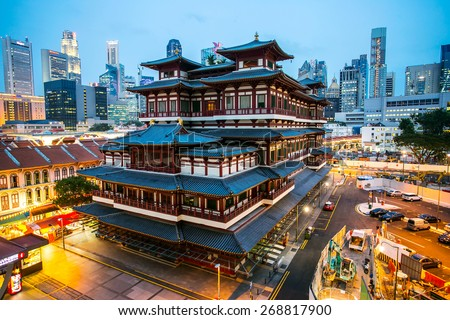 CHINA TOWN ,SINGAPORE ;March 16 ,2015: Buddha Toothe Relic Temple ,China Town area in Singapore where Chinese people come to do activity together in this area. - stock photo