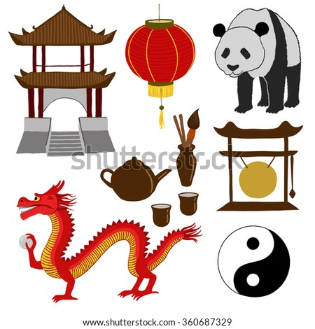 China Travel Asian Traditional Culture Symbols Stock Illustration