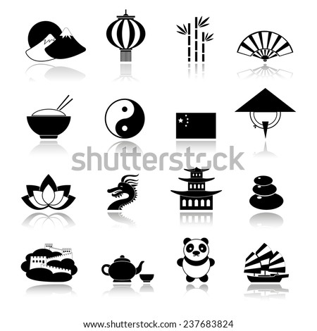 China travel traditional culture symbols black icons set with dragon panda rice isolated  illustration - stock photo