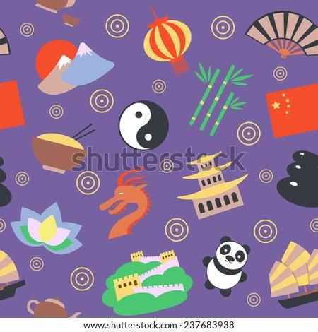 China travel traditional culture symbols seamless pattern  illustration - stock photo