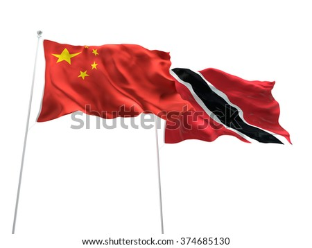 China & Trinidad and Tobago Flags are waving on the isolated white background