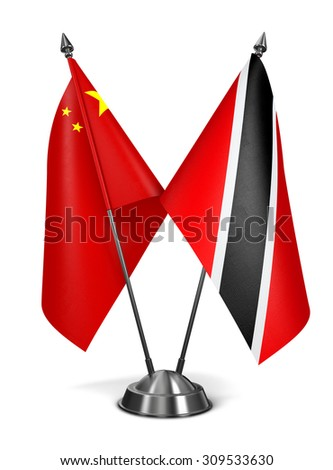 China, Trinidad and Tobago - Miniature Flags Isolated on White Background. - stock photo