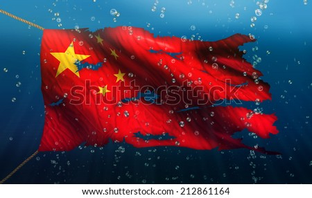 China Under Water Sea Flag National Torn Bubble 3D - stock photo
